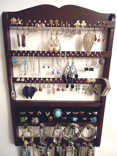 Jewelry Holder, Ring Holder, Stunning Earring Bracelet Necklace Organizer, Cocoa Brown, Oak Hardwood, Amazing Storage, Ready To Ship on Etsy, $59.95