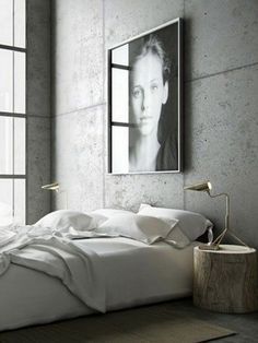 Cement Wall Bedroom