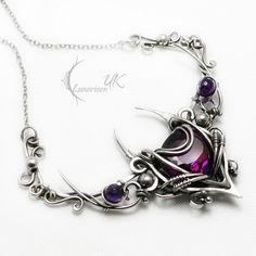 Fully handmade work: necklace technique: wire-wrapping materials: sterling silver, fine silver,alexandrite amethyst. Facebook page www.facebook.com/Lunarieen Online shop www.lunarieenuk.co.uk/en/ E...
