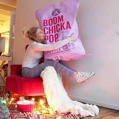 Popcorn is our love languageOne guess what we're doing tonight that involves this MASSIVE bag of heaven?! That's right. GIRLS.MOVIE.NIGHTWhen Harry Met Sally @angiesboomchickapop kettle corn every old school candy you can dream up and exxxtra cozy pjs. This is our version of a wild Friday nightWho's with us?! What movies are you cozying up and watching this wintery weekend Party Girls?!