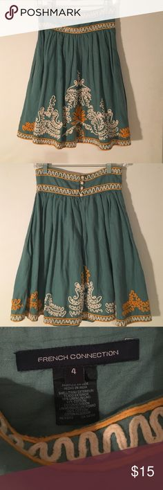 French Connection embroidered skirt. Size 4. Worn once. perfect condition, clean, no stains. Fits on the waist, A line below the waist. French Connection Skirts A-Line or Full