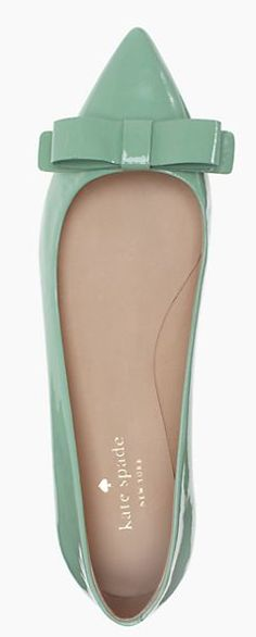 Beautiful #katespade bow flats in mint - on sale for $96.75 with code:  MORESALE http://rstyle.me/n/khmgrnyg6