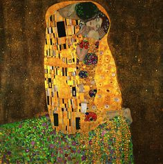"Kiss-(After Gustav Klimt )-Hand painted oil on canvas-Overall size 24""x 24""---"