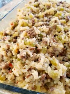 A delicious casserole recipe with rice, ground beef and sausage … Jailhouse Rice! A delicious casserole recipe with rice, ground beef and sausage perfect for feeding a crowd. Sausage And Rice Casserole, Sausage Rice, Easy Casserole Recipes, Casserole Dishes, Chicken Casserole, Cowboy Casserole, Sausage Casserole, Rice Stuffing, Hamburger Casserole