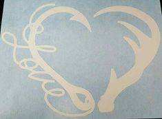 Antler Fishing Hook Heart Love Decal This decal is roughly 5 inches Great decal for your vehicle. Can also be used for any other surface Comes with transfer tape to apply it
