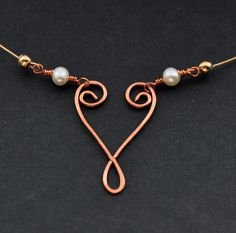 Copper Wire Jewelry | Copper Heart Necklace, Rustic Wire Jewelry, Gold Fill Pearl Necklaces ...