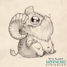 https://flic.kr/p/rmBaGs | This critter needs a name. Hoofy? Hornsicle? Robert? Goat-bot 2000? #morningscribbles