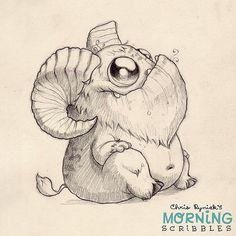 https://flic.kr/p/rmBaGs | This critter needs a name.  Hoofy? Hornsicle? Robert?  Goat-bot 2000?   #morningscribbles