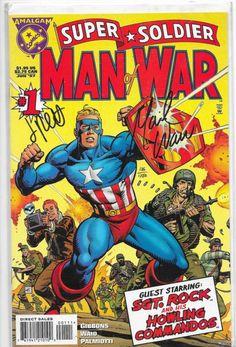 Super Soldier: Man of War Super Soldier Man of War Dave Gibbons Script, Pencils, and Cover. One-Shot Amalgam Comics Rare Comic Books, Comic Book Covers, Comic Book Heroes, Comic Books Art, Comic Art, Book Art, Marvel Comics, Marvel Vs, Gi Joe