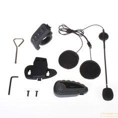 Waterproof Motorcycle Helmet Bluetooth FM NFC Remote Control Interphone for 5 Riders gift