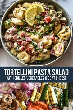 A veggie-packed summer pasta salad featuring tortellini, fresh basil and goat cheese! Pasta Salad With Tortellini, Summer Pasta Salad, Tortellini Ideas, Goat Cheese Pasta, Cheese Tortellini, Salad Recipes, Healthy Recipes, Healthy Dinners, Healthy Eats