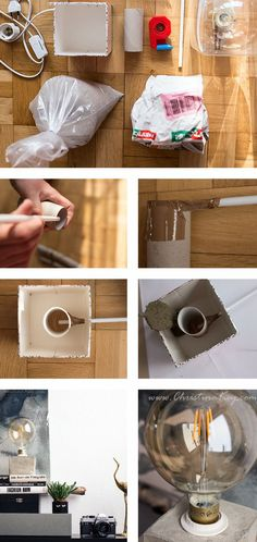 DIY Concrete Lamp - Creative Photography Tips and Photo Hacks- DIY Beton Lampe – Kreative Fotografie Tipps und Foto Hacks DIY concrete lamp instructions - Upcycled Crafts, Easy Diy Crafts, Concrete Crafts, Concrete Lamp, Concrete Projects, Diy Luminaire, Diy Lampe, Gift For Architect, Diy Y Manualidades