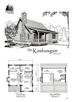 The Kawbawgam  www.hiawatha.com Tiny Houses Plans With Loft, Cabin Plans With Loft, Small Cabin Plans, Cabin House Plans, Tiny House Cabin, Cabin Homes, Log Homes, Studio Floor Plans, Log Home Floor Plans