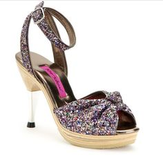 BETSEY JOHNSON SHOES POLLY CONFETTI GLITTER ANKLE STRAP STILETTO HEELS 8 $240 #BetseyJohnson #Stilettos…