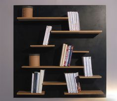 Wall bookcase suspended by a cable in wood and metal. Book Rack Design, Shelf Design, Lumber Storage Rack, Diy Storage, Cable Storage, Tv Furniture, Furniture Design, Diy Old Books, Basement Inspiration
