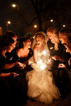 Sparklers with Bridesmaids in the dark.
