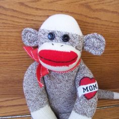 Kirby the red heeled handmade Sock Monkey