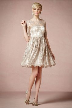 This lace bridesmaid frock is the perfect choice for a vintage wedding! BHLDN , Wedding Bridesmaids Photos by BHLDN