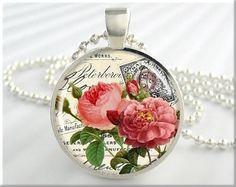 Flower Art Pendant Resin Pendant Flower Jewelry Pink Rose Postcard Necklace Picture Pendant (046RS) via Etsy