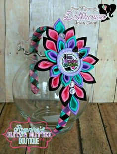 Too Cute To CAre Kanzashi flower headband Just Sayin' An Auction Style Event Opens 3/3/15 at 5 PM CST Closes at 3/5/15 at 9 PM CST Purchase Here: www.facebook.com/dollhousedesigngroup