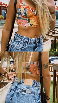 floral Retro, Casual, Vsco, Floral Tops, Floral Outfits, Bodysuit, Ootd, Crop Tops, Lifestyle