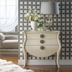 Look no further, the Pippa Accent chest by Hooker is swanky and chic. With wallpapered drawer interiors and cute handles, it really speaks for itself.