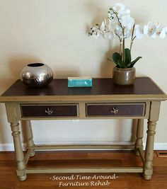 Console/Sofa Table painted Hazelnut with Kona stained top