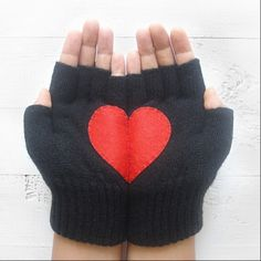 Fingerless Black Gloves with Red Heart (FH03) - $32