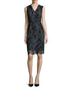 Ashley Chantilly Lace Sheath Dress by Elie Tahari at Neiman Marcus.
