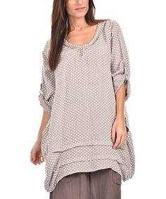 Look at this #zulilyfind! Beige Linen Polka Dot Layered Tunic - Plus Too #zulilyfinds