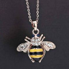 Pendant Jewelry Yellow Bee Necklace Rhinestone Crystal in Jewelry & Watches, Fashion Jewelry, Necklaces & Pendants Rose Gold Pendant, Rose Gold Jewelry, Crystal Pendant, Crystal Necklace, Crystal Rhinestone, Rustic Jewelry, Charm Jewelry, Pendant Jewelry, Pendant Necklace