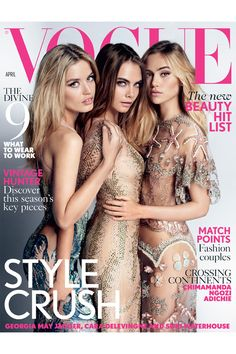 Cara Delevingne & Suki Waterhouse Cover 'Vogue UK' with Georgia May Jagger!: Photo Cara Delevingne is sandwiched in between fellow models Suki Waterhouse and Georgia May Jagger on the cover of British Vogue's April 2015 issue. The ladies were… Vogue Uk, Vogue Fashion, Fashion Models, Face Fashion, Fashion News, Vogue Cover, Vogue Magazine Covers, Fashion Magazine Cover, Fashion Cover