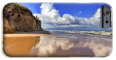 iPhone Cases - Clouds on the Beach iPhone Case by Nadia Sanowar
