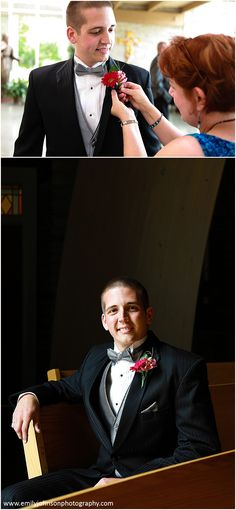 The groom's boutonniere is a hot pink gerbera daisy which went perfectly with the rest of the flowers and colors.