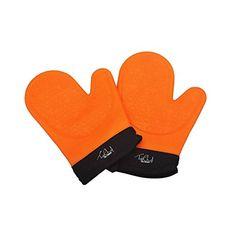 TopChefDeFrance ★★★ Paire de gants de cuisine en silicone protection chaleur★★★ Maniques en silicone avec doublure coton et polyester –…
