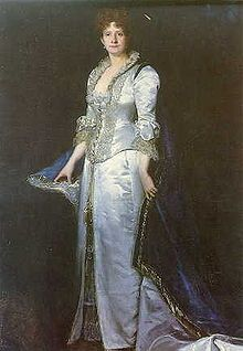 Maria Pia of Savoy (1847 - 1911). Queen of Portugal from 1862 until 1889, when her husband died. She was married to Luis I and had two sons.