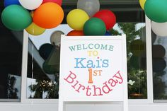 Welcome Sign from a Primary Color Ball Birthday Party via Kara's Party Ideas KarasPartyIdeas.com (5)