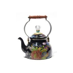 MacKenzie-Childs Flower Market Black Two-Quart Tea Kettle ($105) ❤ liked on Polyvore featuring home, kitchen & dining, cookware, black tea kettle, mackenzie childs kettle, mackenzie childs tea kettle and black kettle