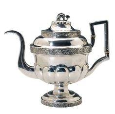 John Ewan, Charleston Coin Silver  Teapot American, 19th century, bulbous lobed body with grape and vine die-rolled border, domed lobed lid with dolphin finial, marks for John Ewan (Charleston, South Carolina, working 1823-1852), no monogram, 30.71 oz.T., 10-1/2 in., Silver Teapot, American Coins, Silver Roses, South Carolina, Charleston, 19th Century, Tea Pots, Monogram, Antiques