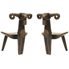 A Pair of Hand Carved Sculptural Ram Chairs thumbnail 1