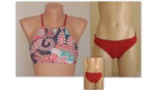 PADDED ..Paisley and solid red high neck halter bikini top and matching full coverage bottoms-Bathing suit-Yoga top-Plus size-Scrunch butt
