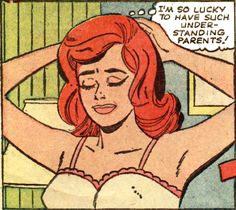 "Comic Girls Say.. ""I'm so lucky to have such understanding parents !..""  #comic #popart #vintage"