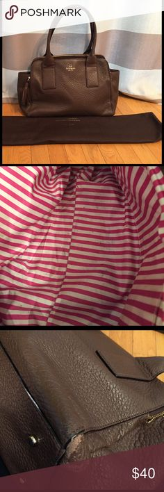 Brown leather Kate Spade shoulder bag Brown leather bag with three large pockets. Pink and off white striped interior. Light marking in one pocket as shown in the second picture and wear on one corner kate spade Bags