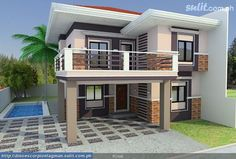 Small budget house plans in philippines housing design low budget modern 3 Two Story House Design, 2 Storey House Design, Duplex House Design, Simple House Design, Modern House Design, Modern Zen House, New Model House, Model House Plan, House Plans