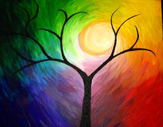 Tree of life rainbow colorful artwork art by yours truly Amanda Belchamber home art artdeco new artist