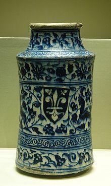 Fleur-de-lis on 14th century Syrian albarello.