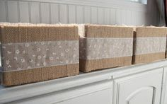 Burlap Covered Boxes: She took old cardobard boxes and hot glued burlap & ribbon to them to make storage containers for her linen closet.  Thrifty, easy, and attractive!