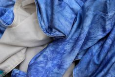 ➛ Luxurious Silk + Organic Flannel blanket dyed in deep variegated blue.      The best silk & flannel blanket ★ #organic #fairtrade #security #baby #blanket