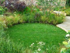circular lawn and grassy borders update yard