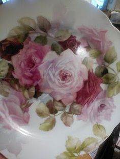 June's Porcelain Art: This is a 8 inch plate (SOLD) hand painted and d. Decoupage, China Porcelain, Painted Porcelain, Cold Porcelain, Porcelain Tile, Beautiful Pink Roses, Hand Painted Plates, Tea Art, China Painting